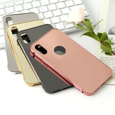 Mirror Ultra Thin Hybrid Hard Metal+Acrylic Back Cover Phone Case For iPhone X