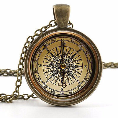 Old  Compass Pendant Pretty Necklace - Vintage Antique Style Picture Jewelry