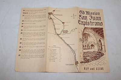 1950s SAN JUAN CAPISTRANO Mission CA Map & Guide