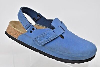 03876cbbd51 BIRKENSTOCK BOSTON WOMEN S Blue Leather Slip On Clogs Sz 40 EU 9.5 ...