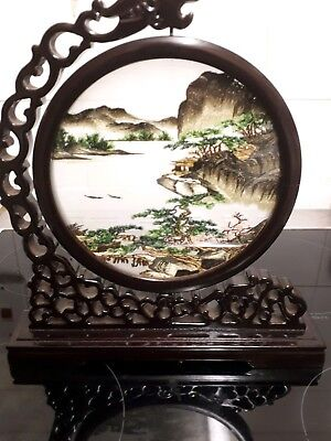 Vintage Japanese Silk Embroidery Table Screen Of Japanese Scene Stand