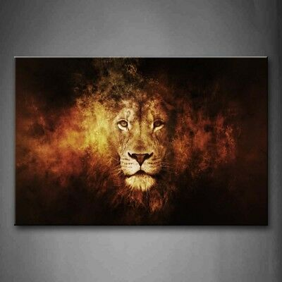 Framed Lion Head Portrait Wall Art Painting Pictures Canvas Print Animal Picture