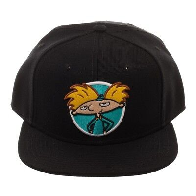 competitive price 3ba1a 54f31 NICKELODEON 90s REWIND HEY ARNOLD! POSE LOGO SOLID BLACK SNAPBACK HAT CAP  RETRO