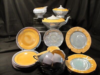 26 Pieces Vintage Estate Lusterware Japanese and Czech Porcelain Blue and Orange
