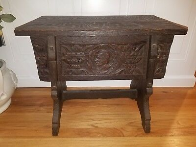 Antique storage BENCH Hand Carved SOLID WOOD circa 1800's GORGEOUS