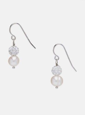 Honora White Cultured Pearl & Crystal Sterling Silver Drop Earrings