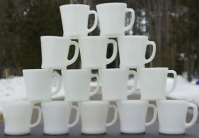 Lot Of 14 Vintage White Fire-King Flat Bottom Mugs Cups