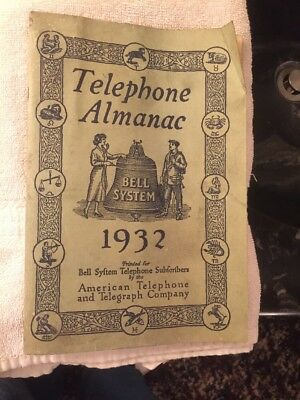 1932 TELEPHONE ALMANAC AT&T American Telephone and Telegraph Company