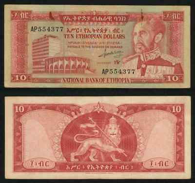 Currency 1966 No Date Ethiopia 10 Dollar Emperor Haile Selassie Pick 27a VF+