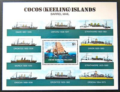 1984 Cocos Keeling Island Stamps - 75th Ann Cocos Barrel Mail - Mini Sheet MNH