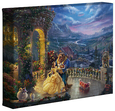 Thomas Kinkade Studios Disney Beauty and the Beast Dancing in the Moonlight 8x10