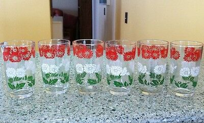 Vintage Swanky Swig Lot of 6 Glasses Tumblers Minty! Red White Flowers