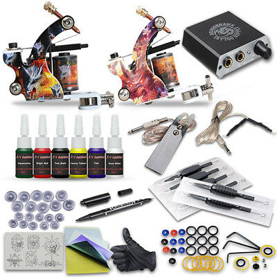 Tattoo Kit 2 Professional Machine Gun 7 Ink Power Supply Needle Tip Complete Set