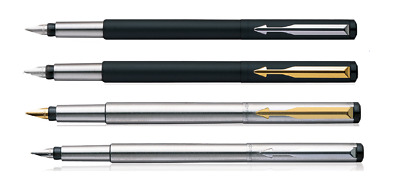 Personalised Engraved Parker Vector Ink Foutain Pen Steel Matte Black CT GT New