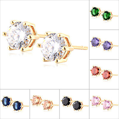 1Pair Womens Yellow Gold Plated Crystal Elegant Stud Earrings Jewelry