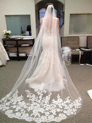 3M Long Ivory/White Lace Applique Edge Bridal Wedding Veil W/ Comb Cathedral UK