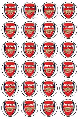 24 x ARSENAL FC Wafer Rice Paper Cupcake Toppers EDIBLE Soccer Sport CREST