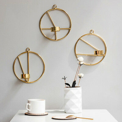 Wall Hanging 3D Geometric Tealight Holder Candlestick Wall Decorative Lamp Gold
