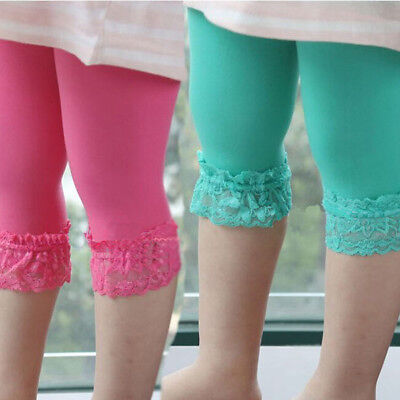 Cute Kids Girls Candy Color Lace Velvet Skinny Stretchy Leggings Pants Trousers
