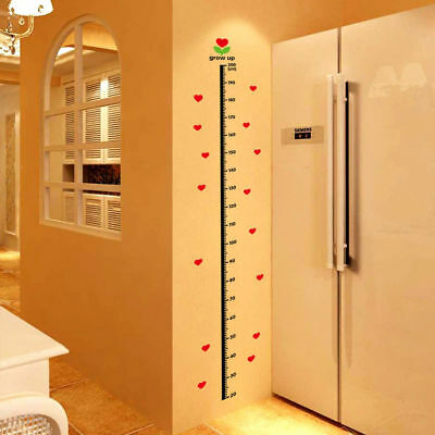 Children Height Growth Chart Measure Wall Sticker Kids Room Decor Heart Decal