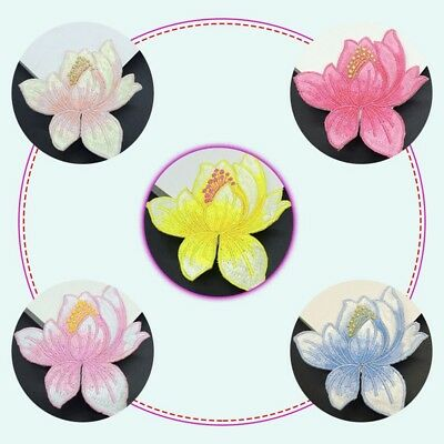 Lotus Flower Clothing Applique Embroidery Patch Sticker Iron On Sew Cloth DIY