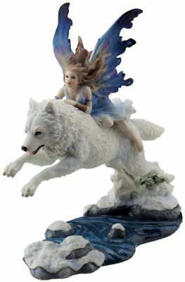 23cm Figurine of Fairy riding on a Leaping white arctic wolf