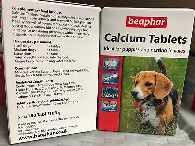 Dog Calcium Tablets - For Puppies & Nursing Females 180 Tablets Whelping kit