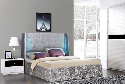 Led Ottoman Storage Bed In Crushed Velvet Mega Offer Gas Lift Wing Headboard