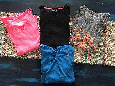 Lot of 4 Women's Shirts Tops Hollister American Eagle Under Armour Faded Glory L