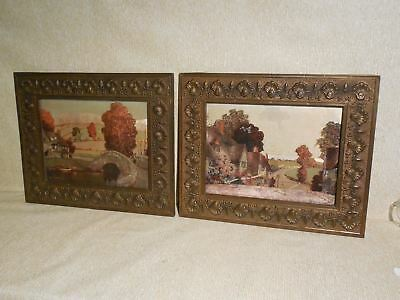 Matched Pair of Antique Ornate Brass Clad Picture Frames