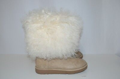 693a76f30a7 NEW UGG LIDA Mongolian Sheepskin Cuff Natural Suede Classic Boots Size US 5