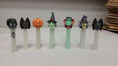 Lot Of 7 Halloween Themed Pez Dispensers! Skull, Witches, Bat And More!