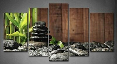 Framed Spa Concept Wall Art Zen Stones Painting Canvas Print Bamboo Picture