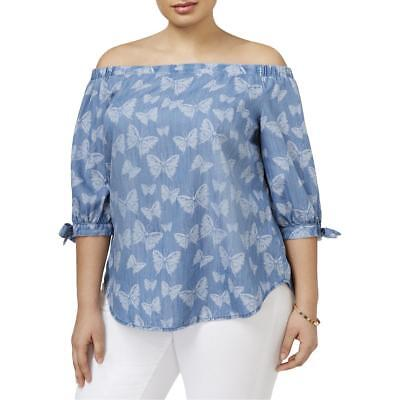 INC Womens Printed Off the Shoulder Tie Sleeve Casual Top Blouse Plus BHFO 7518