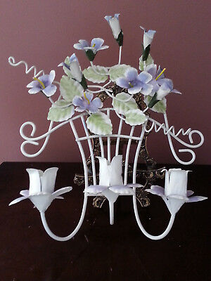 Shabby Chic * Metal Tole Ware Painted Floral Wall Sconce / 3 light Candelabra