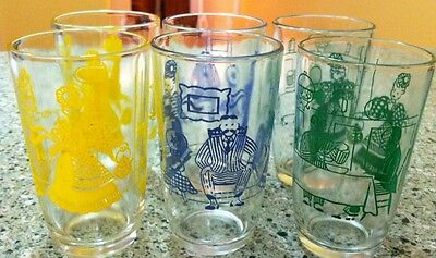 Vintage Swanky Swig Lot of 6 Glasses Tumblers Minty! Man Woman Cook Stove Table