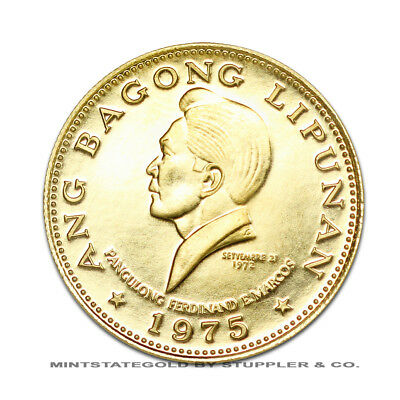 Philippines 1975 Gold 1000 Piso Marcos Proof Uncirculated Coin .2879 Ounces