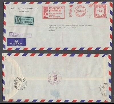 Hong Kong 1965 Cathay Pacific Airways Registered Airmail Meter U333 Cover To Us