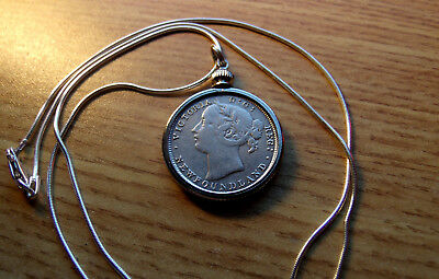 """1882 Victorian Newfoundland 20c Silver Coin Pendant on 22"""" Italy Silver Chain"""