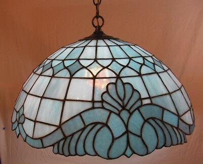 Antique/vintage Leaded Slag Glass Chandelier In Blues 20 Inches