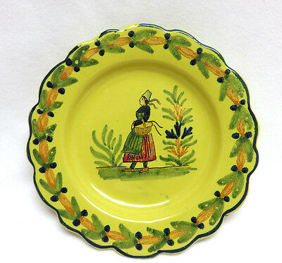 Old Quimper Pottery France Soleil Yellow Plate ~ Breton Woman