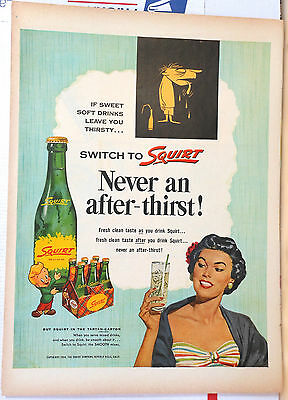 1954 magazine ad for Squirt soda - Switch to Squirt, never an after-thirst!