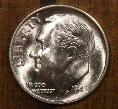 1947 D Roosevelt Dime CH BU LUSTER! 90% Silver US Coin from OBW Roll