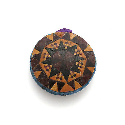Antique 19th c. Tunbridge Ware Inlaid Mosaic Pin Cushion Wheel