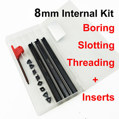 8mm Internal Lathe Tool Kit, 3PC Set Boring Slotting Threading + 8pc Inserts