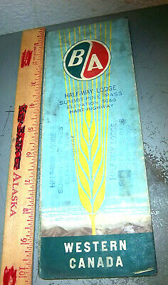 vintage 1953 Highway Map of Western CANADA, BA half way lodge, Hart Highway