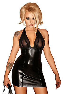 Sexy Neckholder Wetlook Kleid Tüll Rückenfrei Lack Minikleid Transparent Dress
