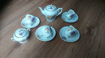 Vintage 1930s Art Deco China Tea Set White Floral Rose Violet VGC