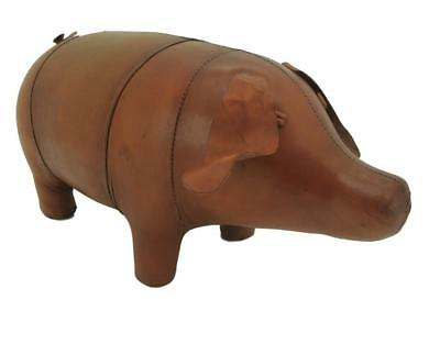 Handmade Leather Pig Footstool / Unusual Interior Design - 28cm x 52cm
