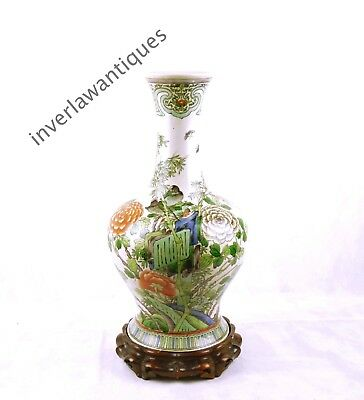 Large 19th C Chinese Famille Verte Vase Qing Dynasty